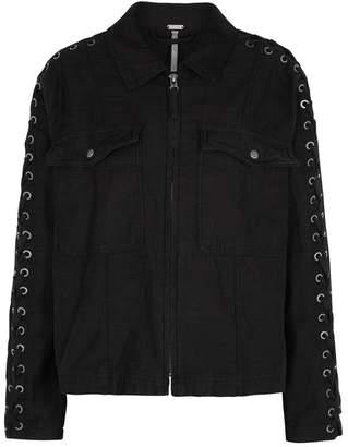 Free People Faye Black Lace-up Cotton Jacket