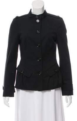 Burberry Collarless Button-Up Jacket
