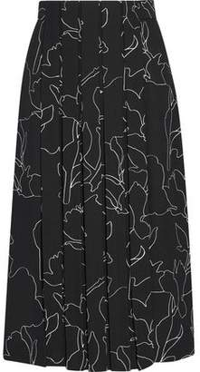 Carven Pleated Printed Crepe Skirt