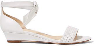 Alexandre Birman Atenah Bow-embellished Leather Wedge Sandals - White