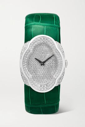 Buccellati Opera 28mm 18-karat White Gold, Alligator And Diamond Watch - one size