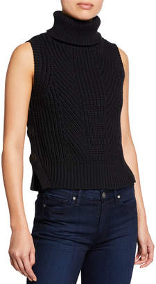 Derek Lam 10 Crosby Sleeveless Chunky Turtleneck Sweater w/ Buttons