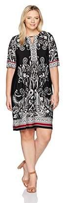 Sandra Darren Women's Plus Size Printed 3/4 Sleeve Jersey Key Hole Shift Dress