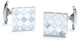 Brooks Brothers White Diamond Mother-of-Pearl Square Cuff Links