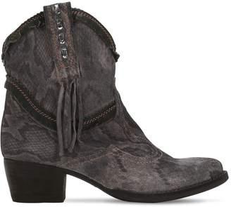 EL VAQUERO 40mm Texano Embosed Suede Cowboy Boots