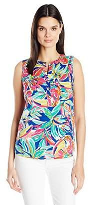 Caribbean Joe Women's Plus Size Sleevesless Printed Rayon Top