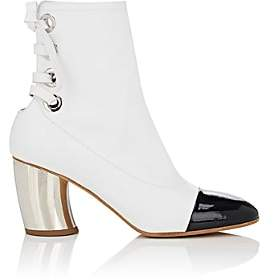 Proenza Schouler Women's Curved-Heel Leather Ankle Boots-White