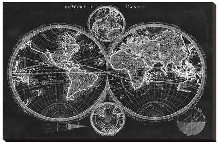 Charcoal World Map By Studio W Stretched Canvas Print 30x20