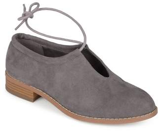 Co Brinley Womens Faux Suede Ankle Lace-up Cut-out Round Toe Flats