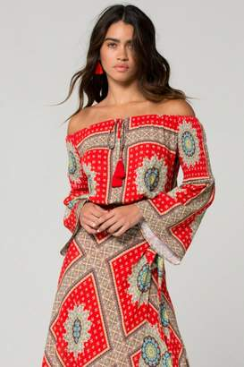 Band of Gypsies Perth Off the Shoulder Medallion Scarf Print Top