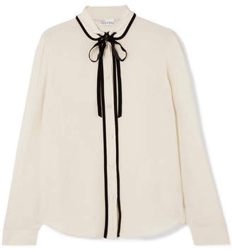 RED Valentino Cotton Velvet-trimmed Silk Crepe De Chine Blouse - Cream