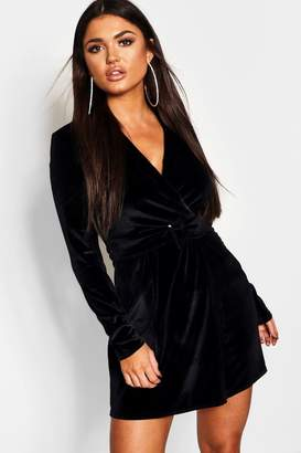 boohoo Velvet Belted Blazer Dress