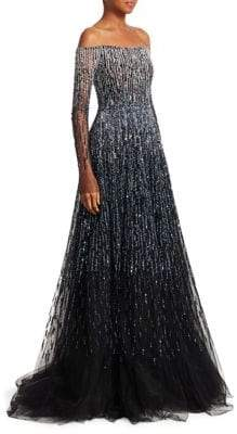 Pamella Roland Off-The-Shoulder Crystal Ball Gown