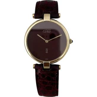 Cartier Vintage Must Vendome Burgundy Gold plated Watches