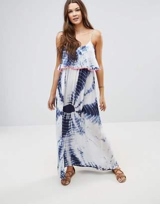 Anmol Neon Trim Maxi Tie Dye Beach Dress