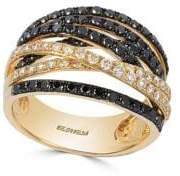 Effy Black Diamond & 14K Yellow Gold Crossover Band Ring