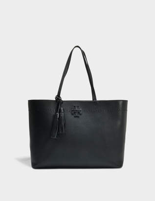 Tory Burch Mcgraw Tote Bag in Black and Royal Navy Calfskin