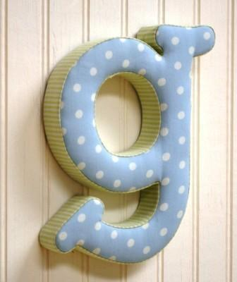 "Kaloo Fabric Letter ""G"" Blue/Green"
