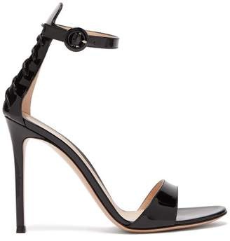 Gianvito Rossi Corset 105 Lace Up Patent Leather Sandals - Womens - Black