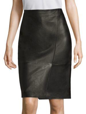 BOSS Seylise Leather Skirt $595 thestylecure.com