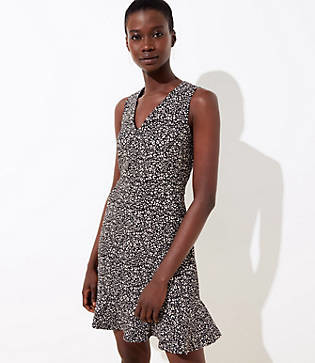 LOFT Leopard Print Flounce Dress