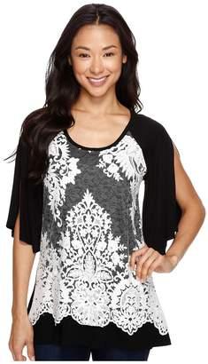Karen Kane Split Sleeve Lace Overlay Top Women's Clothing