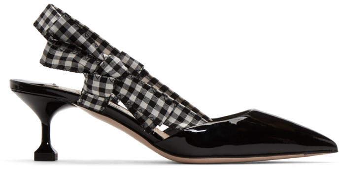 Miu Miu Black Patent Vichy Ribbon Heels