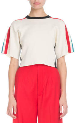 Proenza Schouler Crewneck Short-Sleeve Racer-Stripe Crop Sweater