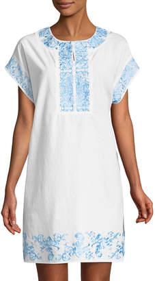 Neiman Marcus Embroidered Poplin Short-Sleeve Dress