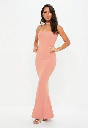 Missguided Pink Crepe Sleeveless Maxi Dress
