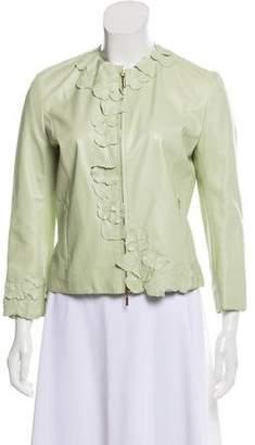 Valentino Leather Zip-Up Jacket