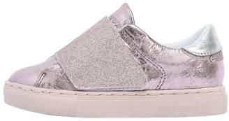 Metallic Leather Strap Sneakers