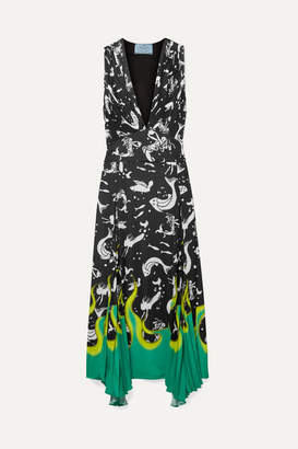 Prada Asymmetric Printed Crepe Midi Dress - Black