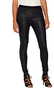 Halston H by Stretch Leather & Ponte KnitLeggings