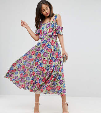 Asos Tall TALL Cami Cold Shoulder Flutter Sleeve Midi Dress in Floral Print