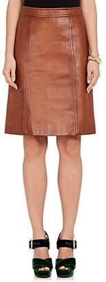 Prada Women's Leather A-Line Skirt - Beige, Tan