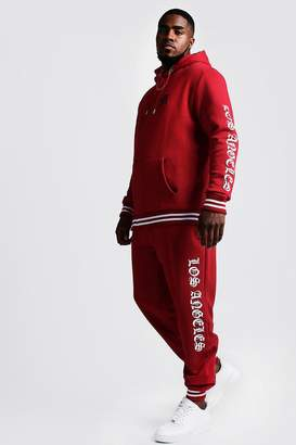 BoohoomanBoohooMAN Mens Red Big & Tall Tracksuit With Embroidery, Red