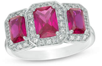 Zales Emerald-Cut Lab-Created Ruby and White Sapphire Octagonal Frame Three Stone Ring in Sterling Silver