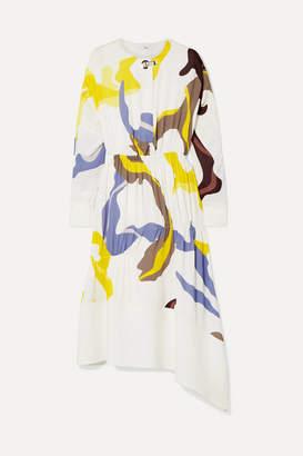 Tibi Asymmetric Paneled Printed Crepe Midi Dress - White