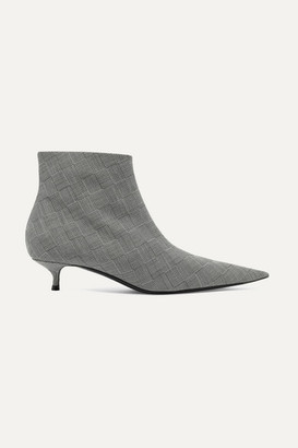 Balenciaga Knife Checked Wool Ankle Boots - Gray