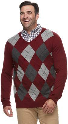 Croft & Barrow Big & Tall Classic-Fit 12GG Argyle V-Neck Sweater