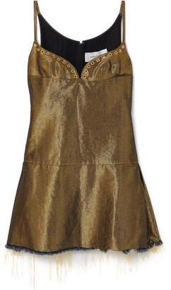 Marques Almeida Marques' Almeida - Distressed Metallic Denim Mini Dress - Gold