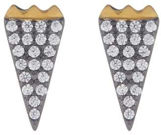 Freida Rothman 14K Gold & Rhodium Vermeil CZ Pave Stud Earrings