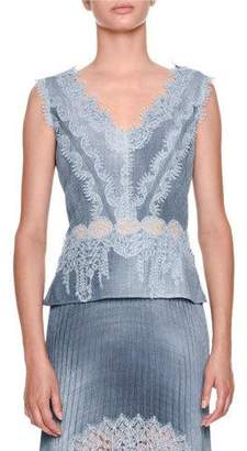 Ermanno Scervino Sleeveless V-Neck Chambray Blouse with Lace Insets