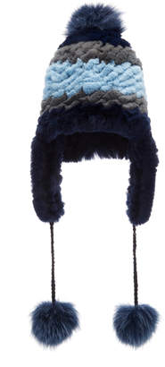 Pologeorgis Knitted Rabbit And Fox Pom-Pom Trapper Hat