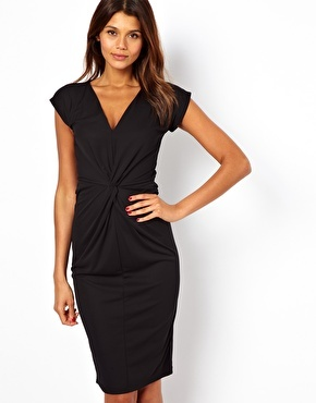 Asos Crepe Dress With Twisted Waist Detail - Black