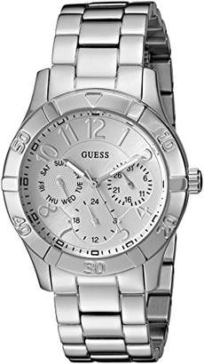 GUESS Women's U0816L1 Sporty Silver-Tone Stainless Steel Watch with Multi-function Dial and Pilot Buckle