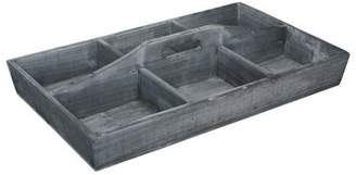 Cheungs 4953GW 6 Compartment Wood Caddy with Center Handle - Gray Wash