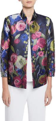 Caroline Rose Garden Variety 3/4-Sleeve Floral Jacquard Jacket