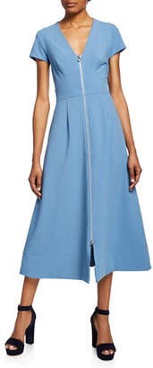 Jill Stuart Zip-Front Short-Sleeve A-Line Midi Dress
